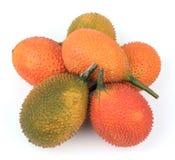 Cochinchinensis del Momordica, un aislante asiático suroriental de la fruta en blanco Imagenes de archivo