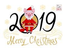 Cochinillo en el papel de Santa Claus stock de ilustración