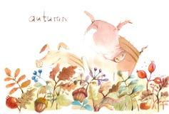 Cochinillos felices en un claro del bosque del otoño stock de ilustración
