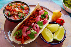 Cochinita Pibil Mexican food with pico de gallo. Lemon and chili royalty free stock photography