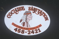 Cochise Sanitation sign with logo of Native American profile in southwestern United States Royalty Free Stock Photos