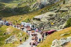 Cochonou有蓬卡车在阿尔卑斯-环法自行车赛2015年 免版税库存图片