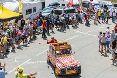 Cochonou-Fahrzeug in den Alpen - Tour de France 2015 Stockfoto