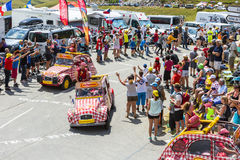 Cochonou Vehicle in Alps - Tour de France 2015 Stock Images