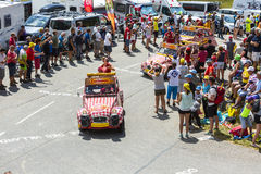 Cochonou Vehicle in Alps - Tour de France 2015 Royalty Free Stock Photo