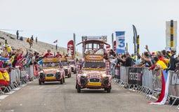 Cochonouauto's tijdens Ronde van Frankrijk Stock Foto