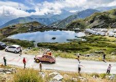 Cochonoucaravan in Alpen - Ronde van Frankrijk 2015 Stock Afbeeldingen