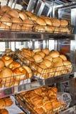 Coció recientemente el pan, estantes con los bollos en la vitrina Quito, Ecuador foto de archivo