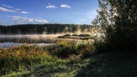 Cocido al vapor de time lapse del río al vapor en naturaleza almacen de video