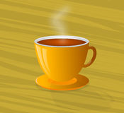 Cocido al vapor del café al vapor caliente en una taza amarilla Imagenes de archivo