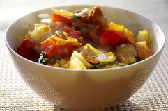 Cocido al vapor del cuenco al vapor de cerdo y de verduras sofritos fotografía de archivo