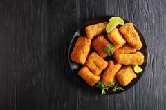 Cocido en pedazos empanados horno de los pescados Imagen de archivo
