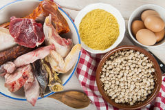 Cocido a Spanish stew with assortment of meat and chikpeas Stock Images