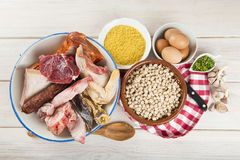 Cocido a Spanish stew with assortment of meat and chikpeas Royalty Free Stock Photos