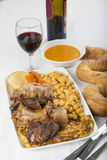 Cocido a Spanish stew with assortment of meat and chikpeas Royalty Free Stock Images