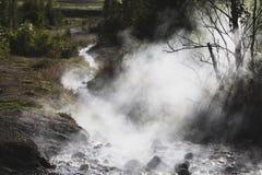 Cociendo el río al vapor en la sol de Islandia, cerca de Geysir fotos de archivo libres de regalías