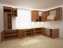 Cocina abierta de par en par. ilustración del vector