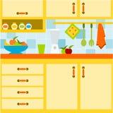 Cocina amarilla Fotografía de archivo libre de regalías