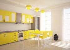 Cocina amarilla Foto de archivo libre de regalías