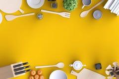 Cocina ascendente falsa de marcado en caliente con la tabla y el artículos de cocina Imagenes de archivo