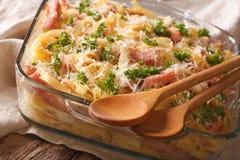 Cocina austríaca: tallarines cocidos con el primer del jamón y del queso Ho Imágenes de archivo libres de regalías
