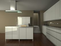 Cocina blanca moderna Foto de archivo libre de regalías
