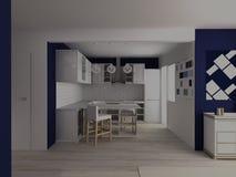 Cocina blanca moderna con la tabla de la barra en el estudio blanco y azul plano Imagen de archivo