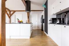 Cocina blanco y negro espaciosa imagen de archivo libre de regalías