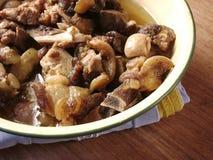 Cocina china: carne frita nuez Fotos de archivo