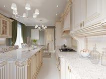 Cocina clásica del diseño con los elementos beige y de madera libre illustration