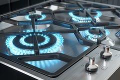 Cocina con el primer de las hornillas ilustración del vector