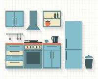 Cocina con muebles Foto de archivo libre de regalías