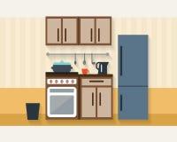 Cocina con muebles Foto de archivo