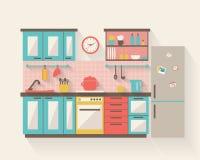 Cocina con muebles Imagen de archivo libre de regalías