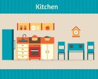 Cocina con muebles Fotos de archivo libres de regalías