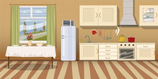 Cocina con muebles Interior acogedor de la cocina con la tabla, la estufa, el armario, los platos y el refrigerador Vector del es