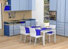 Cocina - cortinas del azul Fotografía de archivo libre de regalías