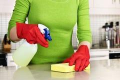 Cocina de la limpieza de la muchacha Fotografía de archivo libre de regalías