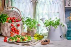 Cocina de la primavera por completo de verduras frescas Foto de archivo libre de regalías