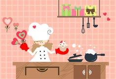 Cocina de la tarjeta del día de San Valentín Imagen de archivo libre de regalías