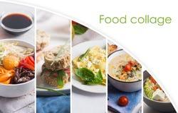 Cocina de los países diferentes, tales como asiático y Europa Collage de la comida con el espacio de la copia imagenes de archivo