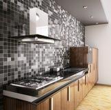 Cocina de madera 3d interior del ébano moderno Foto de archivo