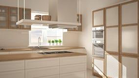 Cocina de madera y blanca moderna con la isla, piso de la raspa de arenque del entarimado, interior minimalistic de la arquitectu imagenes de archivo