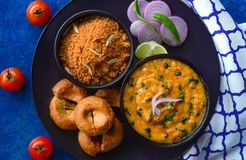 Cocina del churma-Rajasthani del baati del Dal fotos de archivo libres de regalías
