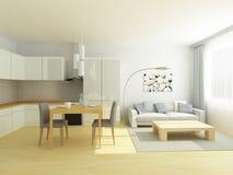 Cocina del estudio y salón planos en colores grises claros y blancos Estilo escandinavo Imagenes de archivo