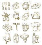 Cocina dibujada mano Fotos de archivo