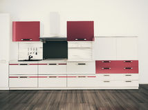 Cocina doméstica moderna, diseño interior con estilo Imagen de archivo