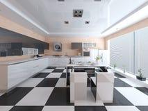 Cocina espaciosa moderna del diseño de alta tecnología stock de ilustración
