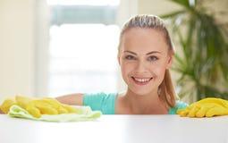 Cocina feliz de la tabla de la limpieza de la mujer en casa Foto de archivo libre de regalías