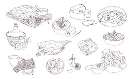 Cocina georgiana Diversos platos Ejemplo blanco y negro dibujado mano del vector ilustración del vector